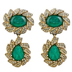 KJL Earring of  Emeralds and Pastes