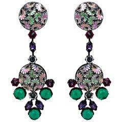 Schreiner Iridiscent Molded Glass Earrings