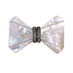 Art Deco Mother of Pearl Bow Tie Brooch