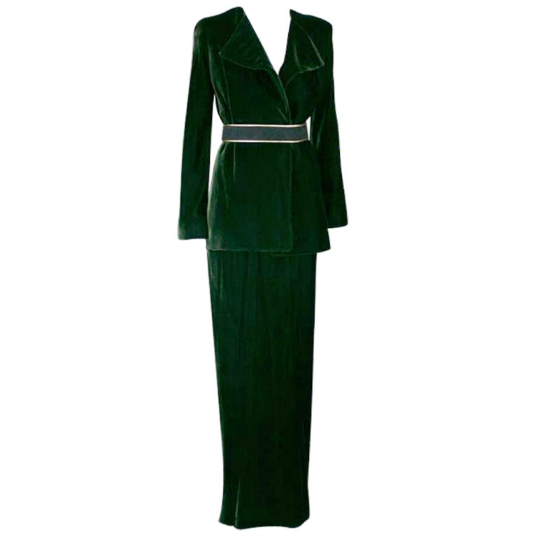Halston Nile Green Bias Silk Velvet
