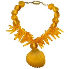 Ugo Correani Resin Shell and Coral Necklace