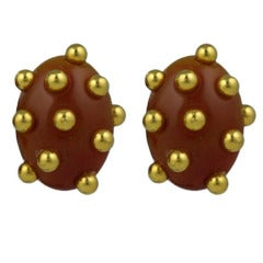Studded Bakelite Clip Earrings
