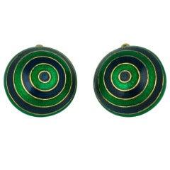 Ciner Domed Enamel Target Earrings
