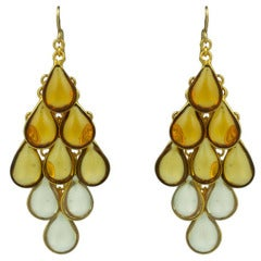 MWLC Collection Citrine Ombre Drop Poured Glass Earrings