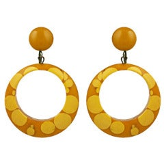 Art Deco Bakelite Injection Dot Hoop Earrings