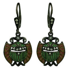Plique a Jour Art Deco Egyptian Revival Earrings