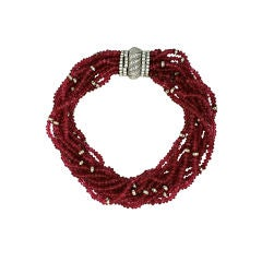 Ciner Ruby Pate de Verre and Pave Rondel Necklace