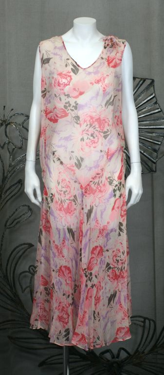 Women's Floral Chiffon Afternoon Dress, 1920s For Sale