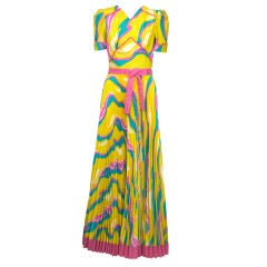 Sunburst Pleated 70s Dress