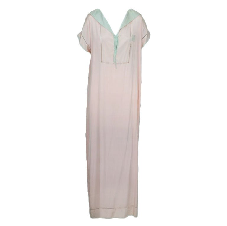 1920s Pink and Celadon Silk Gown