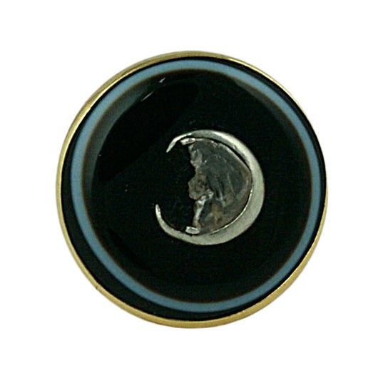 """Custom Carved Diamond """"Man in the Moon"""" Agate Ring"""