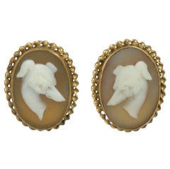 Unusual Victorian Whippet Cameo Earrings