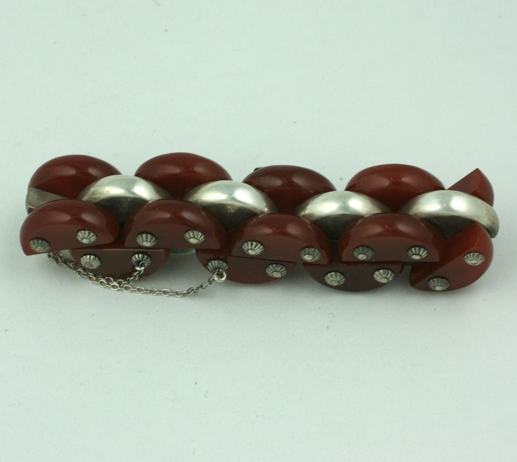 Women's or Men's Art Deco Carnelian and Sterling Tank Bracelet For Sale