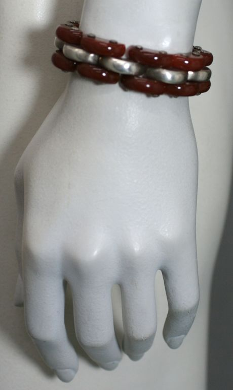 Art Deco Carnelian and Sterling Tank Bracelet For Sale 1