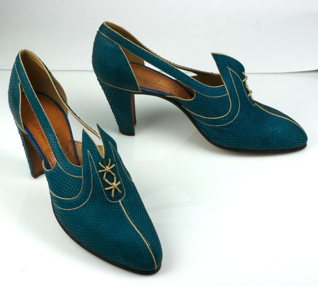 Extraordinary Electric Blue Snakeskin Art Deco Shoes 2