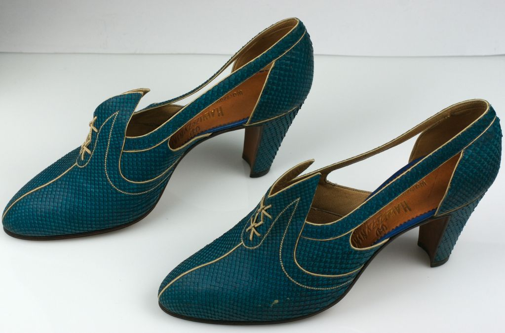 Extraordinary Electric Blue Snakeskin Art Deco Shoes 3