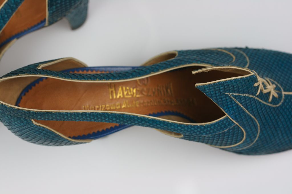 Extraordinary Electric Blue Snakeskin Art Deco Shoes 4