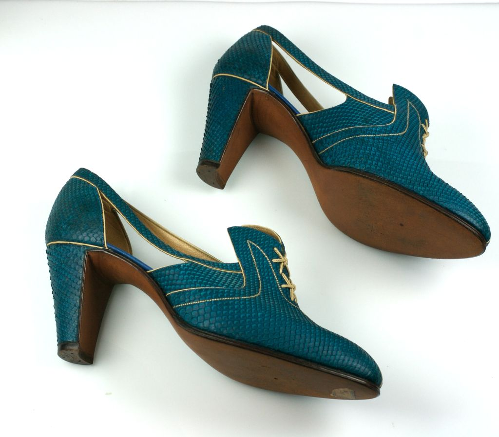 Extraordinary Electric Blue Snakeskin Art Deco Shoes image 5