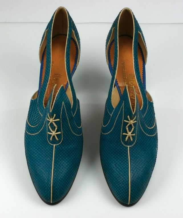 Extraordinary Electric Blue Snakeskin Art Deco Shoes 6