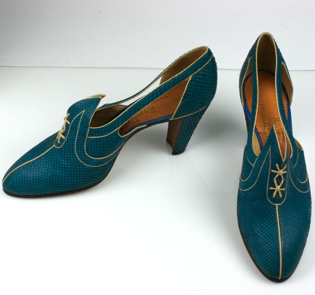 Extraordinary Electric Blue Snakeskin Art Deco Shoes 7