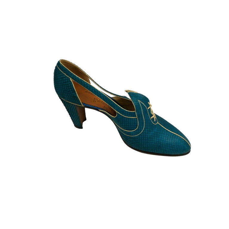 Extraordinary Electric Blue Snakeskin Art Deco Shoes 1