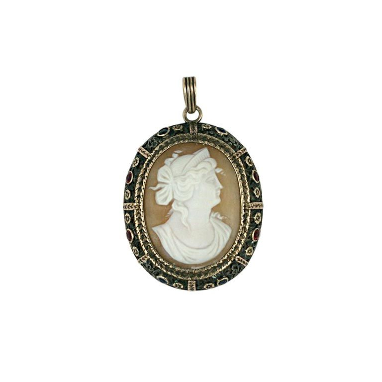 Antique Gem Set Cameo Pendant For Sale