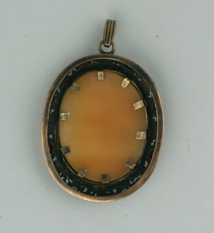 Edwardian Antique Gem Set Cameo Pendant For Sale
