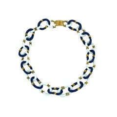 Seguso Navy and Milk Glass Link Necklace