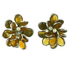 Poured Glass Citrine Petal Earrings