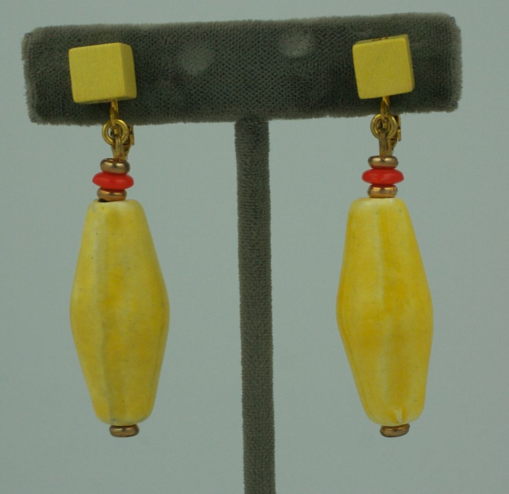 Women's Miriam Haskell  Rare Wood and Ceramic Earring For Sale