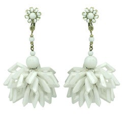 Miriam Haskell Summer White Earrings