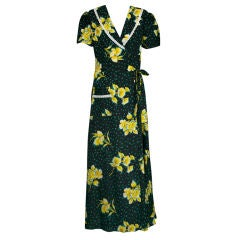 Graphic Seersucker Floral Print 1930s Wrap Dress