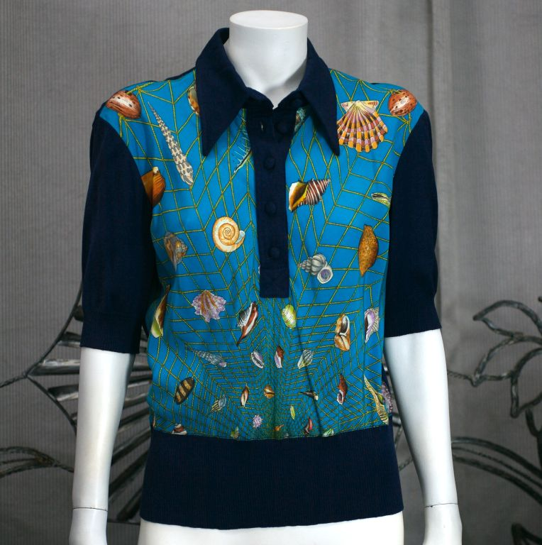 Women's Iconic Gucci Silk Print Polo For Sale