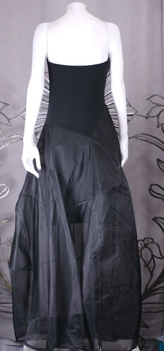 Black Donna Karan Architectural Organza Gown For Sale