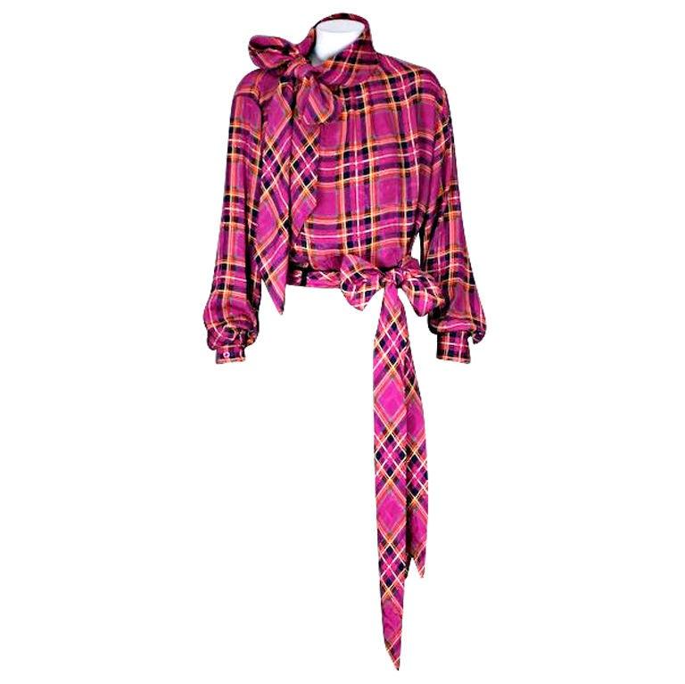 Yves Saint Laurent Silk Bow Blouse