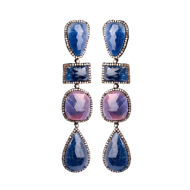 Blue And Pink Sapphire Pendant Earrings At 1stdibs