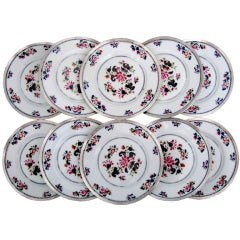 PUIFORCAT French Sterling Silver Limoges Porcelain Plates 12pc