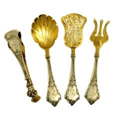 LAPAR French All Sterling Silver Vermeil Hors D'oeuvre Dessert Set 4 pc box