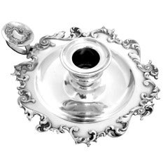 Gorgeous French All Sterling Silver Candle Holder Rococo