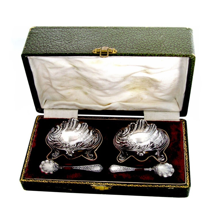 Coignet French Sterling Silver Salt Cellars 2 Pc With
