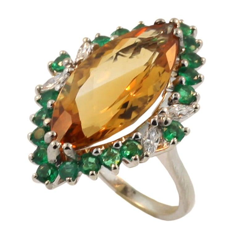 citrine emerald gold ring at 1stdibs