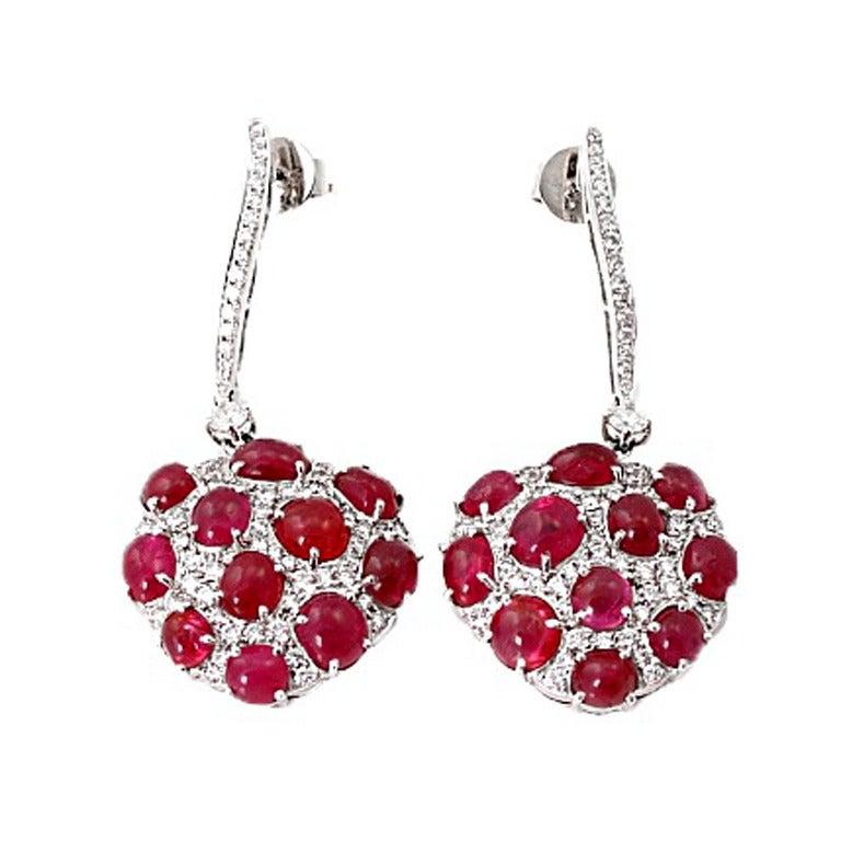 Burmese Ruby No Heat Oval Cabochon & Diamond Earrings 1