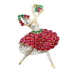 Burmese No Heat Ruby Rose Cut Diamond Gold Ballerina Brooch