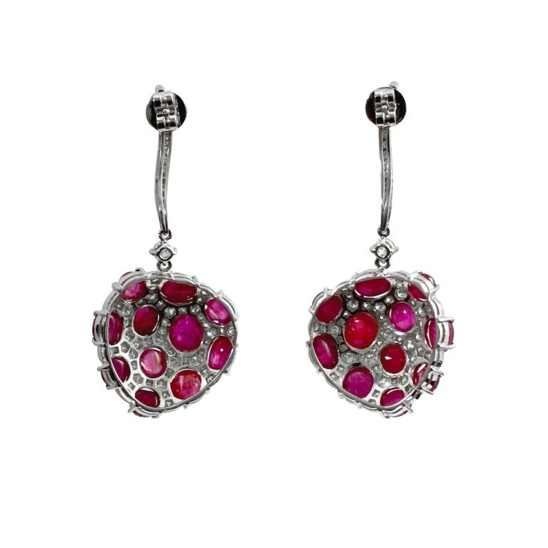 Burmese Ruby No Heat Oval Cabochon & Diamond Earrings 2