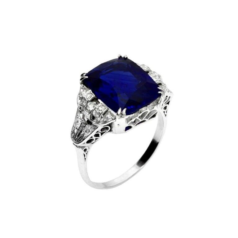Art Deco Ceylon Blue Sapphire Diamond Platinum Ring 2
