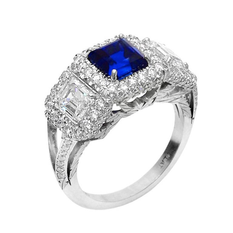 308 carat kashmir sapphire diamond platinum three stone engagement ring 1 - Stone Wedding Rings