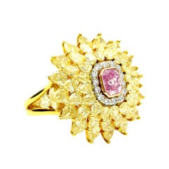 GIA Fancy Intense Pink and Yellow Diamond Gold Cocktail Ring