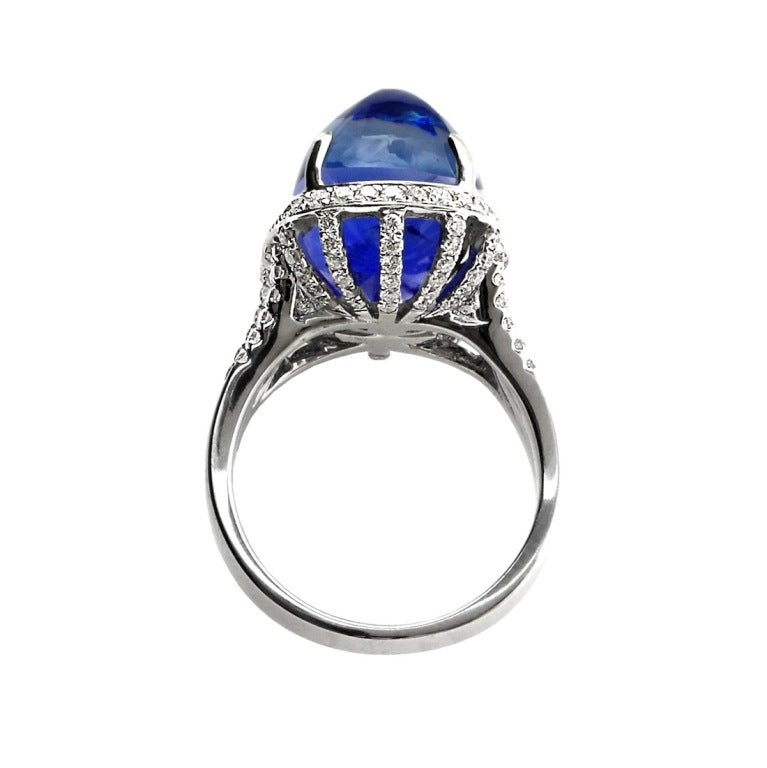 Art Deco 19.57 Carat Ceylon No Heat Sugarloaf Cabochon Sapphire  Ring For Sale