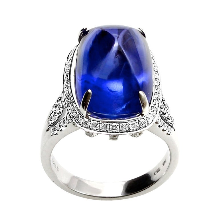19.57 Carat Ceylon No Heat Sugarloaf Cabochon Sapphire  Ring