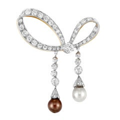 Tiffany & Co. Belle Epoque Natural Saltwater Pearl Bow Brooch
